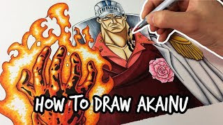 How to draw Admiral Akainu